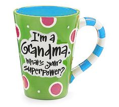 """12 Oz Grandma Coffee Mug With """"I'm A Grandma, What's Your Super Power"""" Great Gift? - Green, 2015 Amazon Top Rated Coffee Cups & Mugs #Kitchen"""