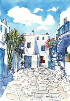 Mykonos Square Greece art print from an original watercolor