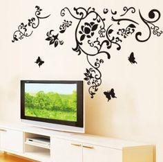 Wall Sticker Decal Yyone Black Flower Vine Butterflies Wall Corner Decal Home Decor Sticker