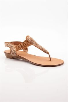 Sparkle Rhinestone Sandal with Elastic Straps - Tan. How do you feel about elastic straps?