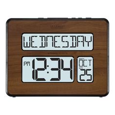 La Crosse Technology 513-1419BL-WA Backlight Atomic Full Calendar Digital Clock with Extra-large Digits