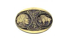 Buffalo Nickel Brass Heritage Attitude Belt Buckle - This beautifully ornate cast brass Heritage Attitude belt buckle features a replica to both sides of the classic American Buffalo Nickel coin. With a smooth polished brass frame, the Native American profile and the American Buffalo face each other #heritage #buffalo #accessories #country #western #westernwear