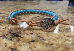 Turquoise Crystal Healing Single Wrap Bracelet with Tree of Life button by DoubleDeesigns on Etsy
