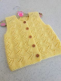 Yellow baby vest,knit baby girl vest, winter trends by likeknitting on Etsy