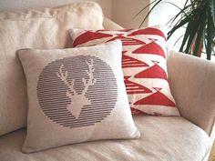 Stag Deer Cross Stitch Pattern PDF Pillow by WallflowerCushions, $5.00