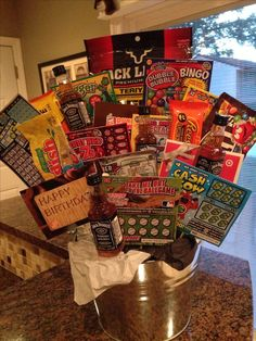 Birthday Gift Basket For Guys Lottery Tickets Etc