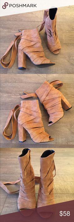 Aldo Camel brown suede leather booties size 6 Strappy leather , leather straps in back size 6, heel is 4 inches Aldo Shoes Ankle Boots & Booties