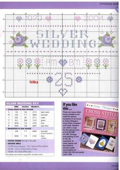 Cross Stitch Cards, Cross Stitch Samplers, Counted Cross Stitch Patterns, Cross Stitching, Cross Stitch Embroidery, Silver Anniversary, Anniversary Cards, Wedding Anniversary, Wedding Cross Stitch