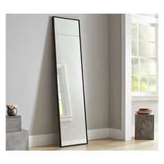 Pottery Barn Berke Narrow Floor Mirror (€560) ❤ liked on Polyvore featuring home, home decor, mirrors, narrow mirror, wall mirror, standing wall mirror, pottery barn mirrors and interior wall decor