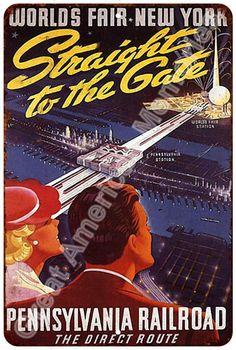 Pennsylvania Railroad Worlds Fair Vintage Reproduction Sign 8x12 8122848