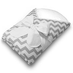 Bundlebee Baby WrapSwaddleBaby Blanket Removable Cushion for Neck and Back Support  High Quality Cotton  Feather Light  Hypoallergenic  beautiful packaging  Newborns 04 months  Grey Chevron *** Check this awesome product by going to the link at the image.