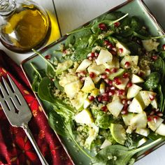 Ingredients: Salad 2 cups spring greens 2 cups cooked quinoa 1-2 medium apples, cored and chopped 1 medium pear, cored and chopped 1/2 pomegranate, seeded 1/8 tsp salt 1/8 tsp pepper  Vinaigrette 3...
