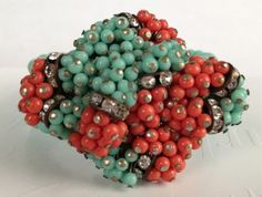 RARE Vintage Miriam Haskell Coral Turquoise Glass Bead Crystal Wrap Bracelet