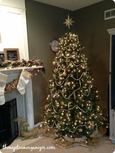 Gold and cream Christmas tree decor, burlap garland, holiday mantle