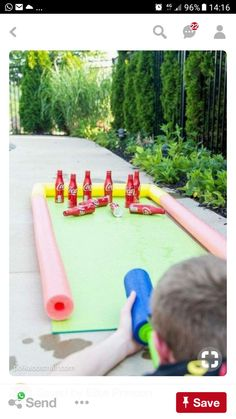 DIY Outdoor Bowling Game, made using Coke bottles, a yoga mat and pool noodles!… DIY Outdoor Bowling Game, made using Coke bottles, a yoga mat and pool noodles! Play it with a supersoaker for summer water fun for kids! Camping Games Kids, Outdoor Games For Kids, Activities For Kids, Crafts For Kids, Kids Diy, Indoor Activities, Indoor Games, Water Games For Kids, Camping Activities