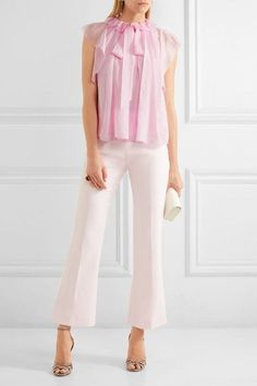 Temperley London - Allure Ruffled Silk-chiffon Blouse - Pink - UK16