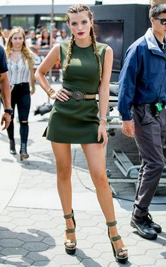 Bella Thorne is flawless in a dress from the Spring Summer 2016 runway which she accesorized perfectly with Versace belt and platforms. #VersaceCelebrities