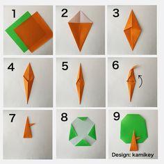 """ふくろうの動画のおまけに載せた「木」の作り方ですが、インスタでも特別掲載!スワイプでどうぞ^ ^六角リース15㎝ とり12㎝ 木3㎝ ,4㎝角の折り紙を使用しています ✳︎ 「とり」「六角リース」の作り方動画は、YouTubeの""""kamikey origami""""でご覧ください(プロフィールにリンクがあります) ✳︎ Wreath designed by me Tutorial on YouTube """"kamikey origami """" #origami #折り紙 #kamikey"""