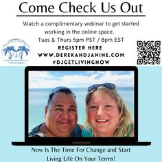 Live Life On Your Own Terms... We provide everything needed to get an Internet Based Business up and running quickly! Learn all about it tonight LIVE (Tuesday & Thursday) at 5pm PST. Register here ⬇️⬇️⬇️ www.derekandjanine.com Cheers! Derek & Janine #DerekandJanine #DJGetLivingNow #StartLivingYourBestLifeNow #LaptopLifestyle #DigitalBusiness #AskUsHow #TakeActionNow Register Here, Your Best Life Now, Time For Change, Up And Running, Online Work, Dream Big, Live Life, Cheers, Thursday