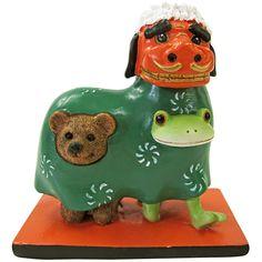 Copeau(コポー)シリーズのレジン製置物。獅子舞をするコポタロウとクマ。【幅:6.8、高さ:7.1】 【重さ:125g】 2016.08.20