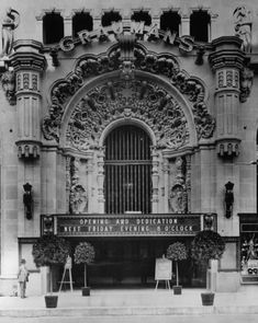 View of the original marquee and main entrance of the Grauman's Theater (later Million Dollar Theater), located at 307 S. Broadway, Los Angeles, 1918.