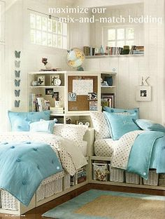 I like the bed placement, and for my small kids maybe hike up the beds a little more and create a crawl space under the beds to maximize use under the shelves in the corner too ;-) Corner Unit, Bed In Corner, Corner Space, Corner Hutch, Corner Shelf, Corner Cabinets, Corner Shelving, Teen Bedroom, Bedroom Decor