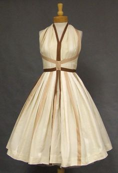 Vintage 50's cream, chocolate and taupe striped halter dress