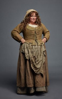"Prudie (Beatie Edney), of ""Poldark"". I've grown accustomed to her...apron, like Henry Higgins with Eliza Dolittle! Love the ground-in dirt. I wonder if she does it herself, like Viggo Mortensen did with his Aragorn costumes."