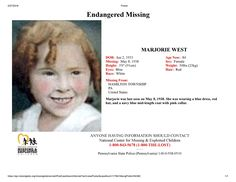 Find missing Marjorie West!She vanished as a small child.She has been missing for almost 80 years. Missing Child, Missing Persons, Amber Alert, Cold Case, Blue Hair, Mysterious, Did You Know, Creepy, Mystery