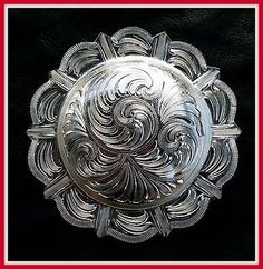 "6 - 3/4"" Silver Hand Engraved Western Conchos • CAD 25.00 ..."