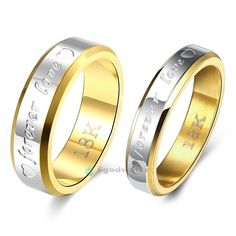 Gold Plated Couple Ring Men/Women's Titanium Steel Wedding Engagement Band Lover