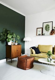 Easy And Cheap Cool Ideas: Natural Home Decor Diy Wall Art natural home decor diy essential oils.Natural Home Decor Ideas Layout natural home decor feng shui living rooms.Natural Home Decor Inspiration Living Rooms. Living Room Green, Living Room Interior, Home And Living, Diy Interior, Small Living, Cozy Living, Interior Decorating, Living Room Accent Wall, Danish Living Room