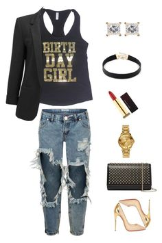 Saturday Night !!! by birthdaygirlworld on Polyvore featuring OneTeaspoon, Christian Louboutin, Sole Society, Versus and Kevyn Aucoin