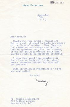 Mary Pickford Autographed Letter
