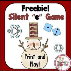 Freebie! Snowman Silent e Game is a fun little game to practice reading cve words.