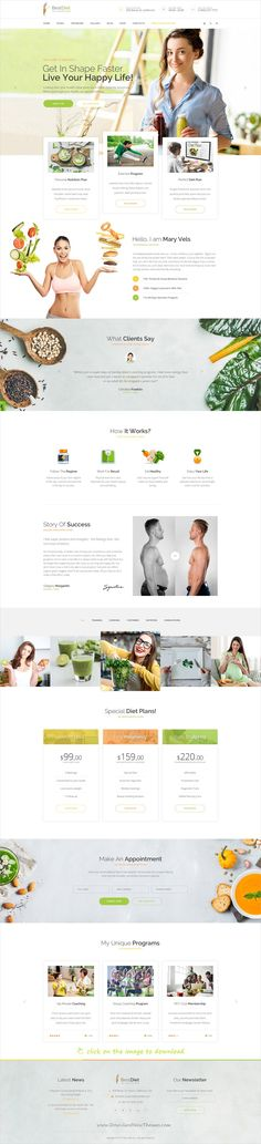 BestDiet is clean and modern design PSD template for #dietitian and #nutritionist professional website with 18 layered PSD pages to live preview & download click on the image.