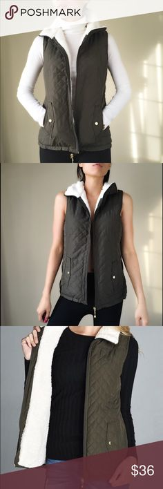 "Dark olive green quilted shearling vest Dark olive green quilted shearling vest. Lightweight and stylish. Full shearling lining and collar. High collar. With pockets. Gold hardware zip and buttons. 100% polyester on shell 1,2&3. Size S: bust 18"" LENGHT front:23.5"" back:26"". Size M: bust 19"", front length:23.5, back26.5"". Size L: bust 20"", LENGHT f:24.5, back27.5"". High collar 3"" zip up. Lightweight vest. Follow me on  INSTAGRAM: @chic_bomb  and FACEBOOK: @thechicbomb CHICBOMB Jackets & Coats…"