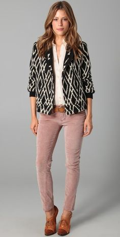 classy. Love this outfit: those look like the cord leggings from anthro