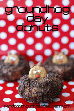 Groundhog Day Donuts! Perfect breakfast to celebrate Groundhog Day on February 2nd:) #groundhogday #donuts