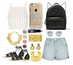"""""""Denim Shorts!"""" by haydeenievs ❤ liked on Polyvore featuring Topshop, Gucci, Agent 18, Christian Dior, Lime Crime, Terre Mère and Chanel"""