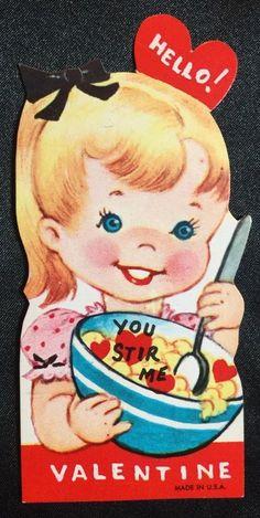 Die Cut Vintage Valentine Unused 1950s 1960s Great Color Little Girl | eBay