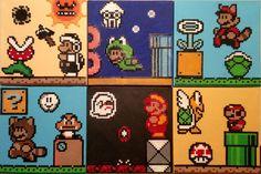 Super Mario 3 Perler Beads on Canvas Pearler Beads, Fuse Beads, Hama Beads Patterns, Beading Patterns, Animation Pixel, Mario Crochet, Stitch Games, Hama Art, Perler Bead Mario
