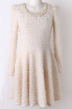 Apricot Long Sleeve Bead Shaggy Pleated Dress pictures