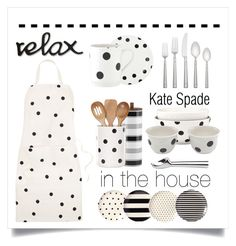 """""""Relax. .. Kate Spade is in the house"""" by conch-lady ❤ liked on Polyvore featuring interior, interiors, interior design, home, home decor, interior decorating, Kate Spade, kitchen, katespade and kitchenessentials"""