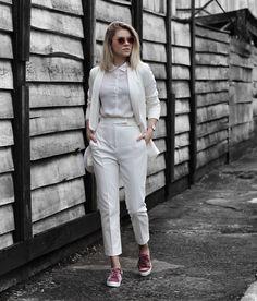 all white and velvet sneakers.