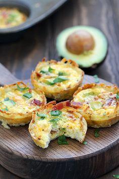 Easy Breakfast Bacon Avocado Hash Brown Egg Cups