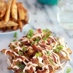 Double-Baked Fries with Garlic Cheese Sauce and Bacon