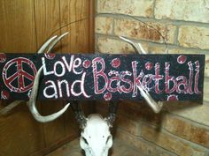 Peace, Love and Basketball - Handpainted Wooden Sign