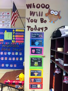 Rulin' The Roost: Owl Clip Chart!    Could do a matching WHOO are you board with kids pictures and a little about them for beginning of year