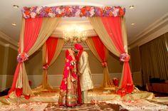 indian-wedding-ceremony-fabric-mandap-floral-decor http://maharaniweddings.com/gallery/photo/2827